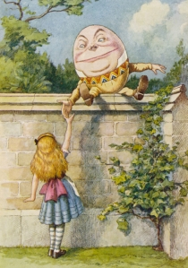 Color picture of Alice and Humpty Dumpty from the nursery rhyme, by artist John Tenniel.