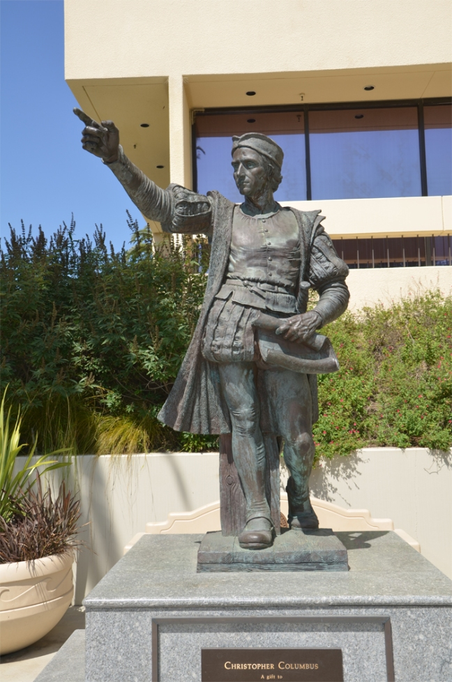 Statue depicting Christopher Columbus at Pepperdine University, Malibu, CA.  © copyright holder of this work is Molly R. Oster. page 4, figure 2.
