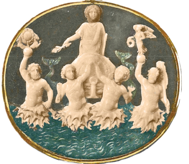 "This Roman Gem, known as the ""Actium Victory Cameo,"" shows Augustus in a chariot being drawn by four Tritons. The iconography of this image with its ocean and globe depicts Augustus as ""Master of land and sea"" in its celebration of the Victory of Actium. Gem located in the Kunsthistorisches Museum in Vienna, Austria. Page 39, figure 26"
