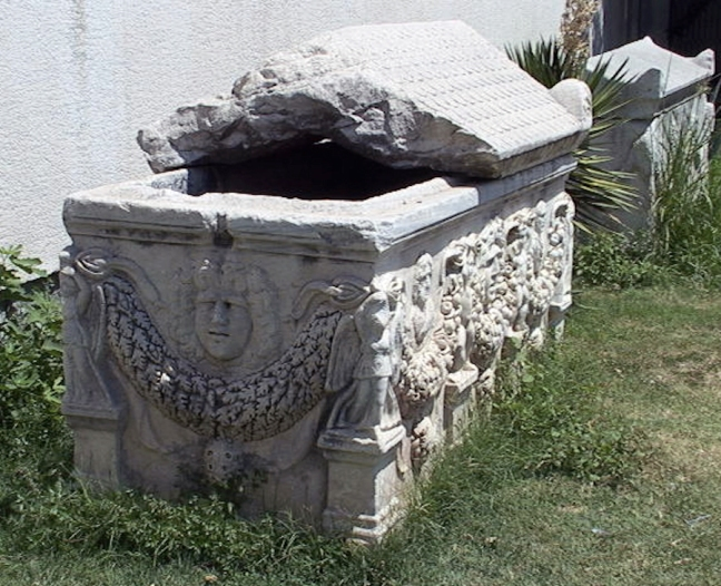 Sarcophagus (stone coffin) placed outside the archaeological museum for Ephesus, in the town of Selçuk, Turkey.  © copyright holder of this work is Richard E. Oster.  Page 60, figure 37.