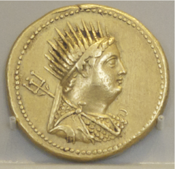 Coin of Hellenized Divine Ruler, Ptolemy III Euergetes (reigned 246-222 BC), whose divinity was highlighted by his radiate crown. Alte Museum, Berlin, Germany.  © copyright holder of this work is Richard E. Oster.  Page 79, figure 43.