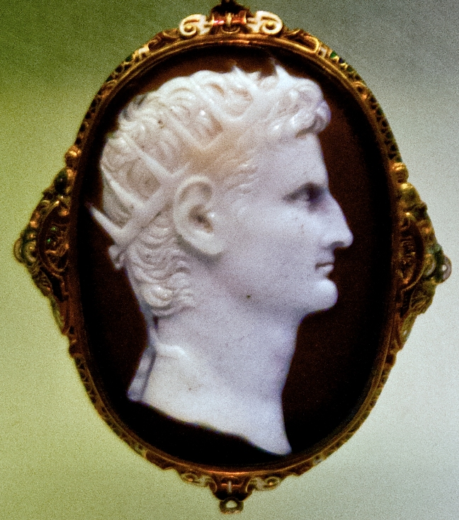 Roman's first emperor, Augustus, portrayed with radiate crown. This gem is located in the Römisch-Germanisches Museum, Cologne, Germany.  © copyright holder of this work is Richard E. Oster.  Page 80, figure 44.