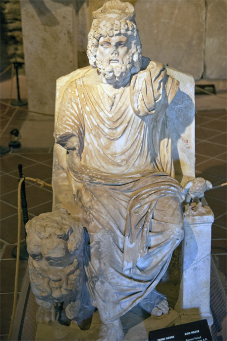 Statue of Greek god Hades, located in the archaeological museum on the site of Hierapolis, Turkey. © copyright holder of this work is Richard E. Oster.  Page 83, figure 45.