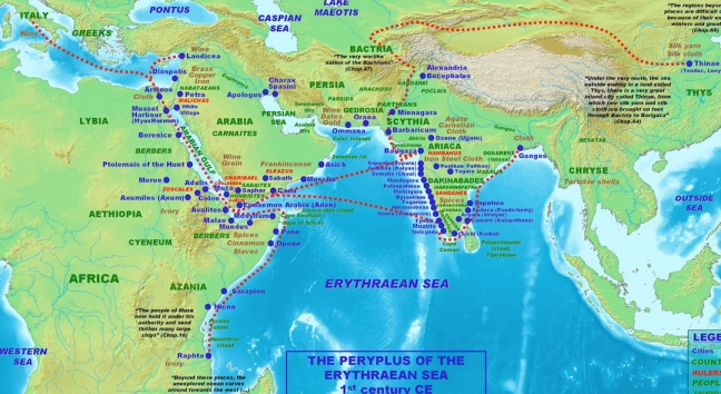 Map based upon the text of itinerary of mid-first century AD Greek document, Periplus. Page 35, figure 18.