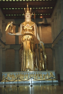 There is a replica in Nashville, Tennessee of the original Parthenon Temple located on the Acropolis in Athens.  © copyright holder of this work is Richard E. Oster. Page 111, figure 63.