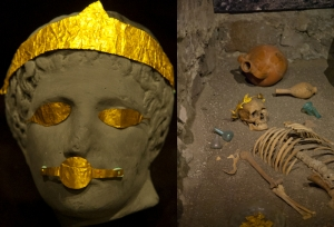 Pictures of burial finds with golden victory wreaths. Image on right is located in the Museum of Anatolian Civilizations in Ankara, Turkey.  Picture on left is model of a woman wearing a golden burial crown, located in the Archaeological Museum, Izmir, Turkey.  © copyright holder of this work is Richard E. Oster.  Page 128, figure 81.