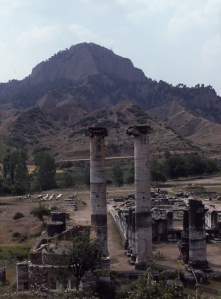 Temple of Artemis in Sardis, first begun in the early Hellenistic period and reaching completion in the second century AD. Its main columns were almost fifty feet tall.  © copyright holder of this work is Richard E. Oster.  Page 161, figure 96.