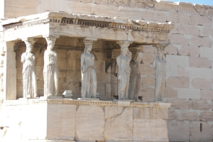 Caryatids showing human forms as pillars in a temple.  These are in the Erechtheion, on the Acropolis in Athens. © copyright holder of this work is Richard E. Oster.  Page 181, figure 98.