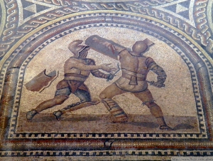 Detail of Gladiator mosaic, Römerhalle, Bad Kreuznach, Germany.copyright photo, attribution @www.flickr.com:photos:carolemage:8196070427 copyright holder carole madge.
