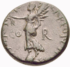 Early Roman coin from Corinth, showing the goddess Victoria standing on the globe of the earth.